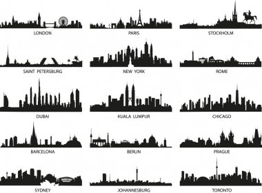 Vector silhouettes of the city skylines stock vector