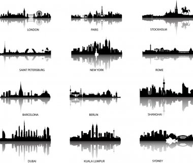 Vector city panoramic skylines