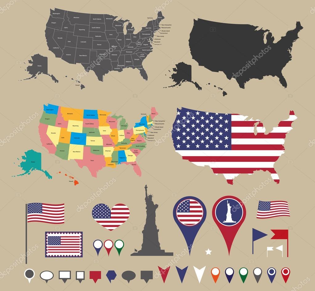 Usa map set and national symbolic