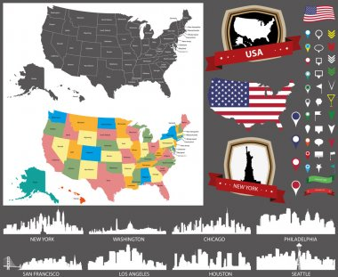 United States map with main cities silhouettes set