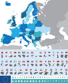 Fotografie Vector map of Europe with flags