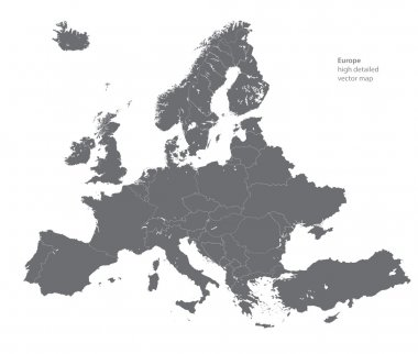 Vector high detailed map of Europe stock vector
