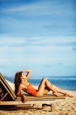 Young beautiful caucasian woman on a beach in Bali, Indonesia
