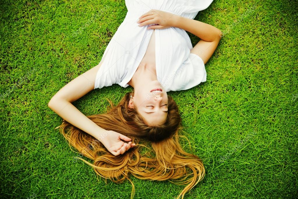 beautiful woman on the grass