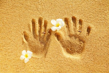 Prints of love on the sand