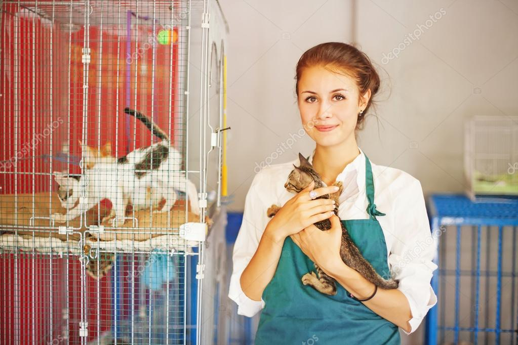 Woman in animal shelter
