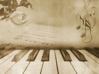 Grunge musical background template in sepia tone with piano keys, sheet music and rose - vintage design stock vector