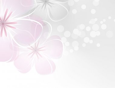 Pink white flower design against grey background clip art vector