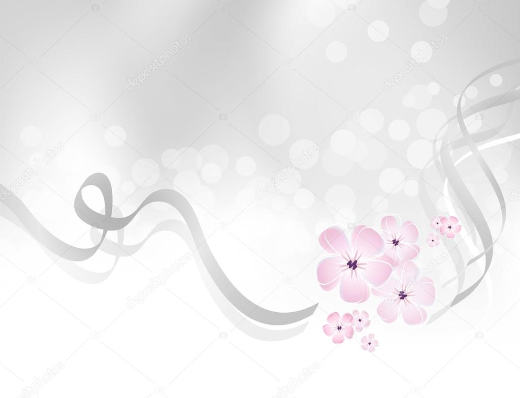 Pink flower design against silver grey background