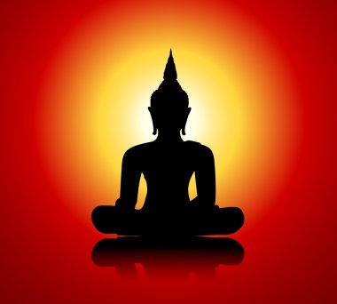 Buddha silhouette against red background