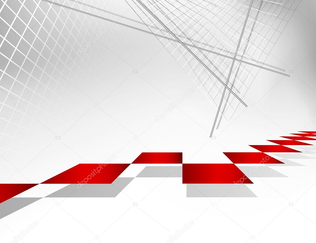 Abstract grey background with red squares - architecture design