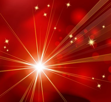 Red starburst - abstract Christmas background