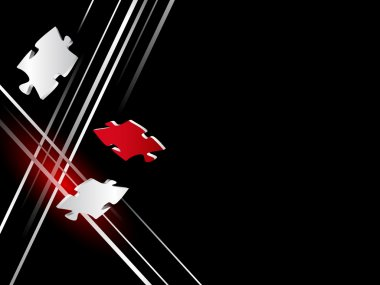 Abstract black business background with silver lines and red puzzle piece clip art vector