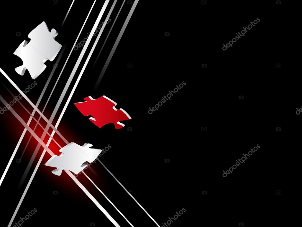 Abstract black business background with silver lines and red puzzle piece clipart vector