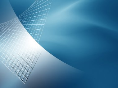 Blue abstract technology background with silver grid