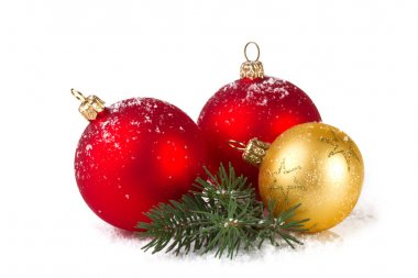 Red and gold christmas balls, isolated on white background
