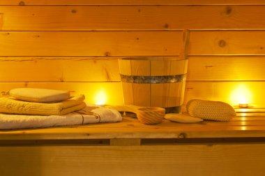 Interior of sauna and sauna accessories