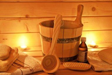 Interior of finnish sauna and sauna accessories
