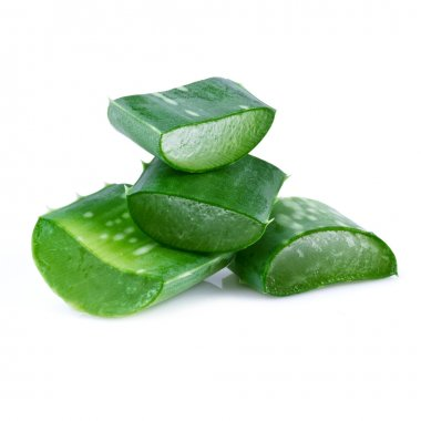 aloe vera leaf and slices isolated on white