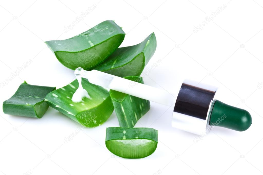 aloe vera leaf and slices with pipette isolated on white background