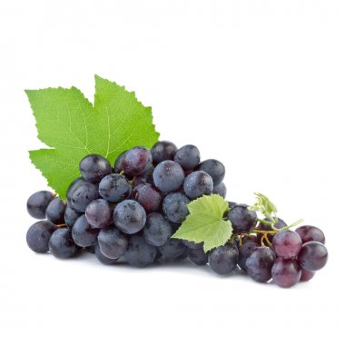 Grapes with leaves isolated on white background