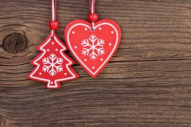 Christmas decoration over wooden background with free space for text