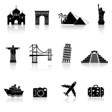 Travel and landmarks icons set