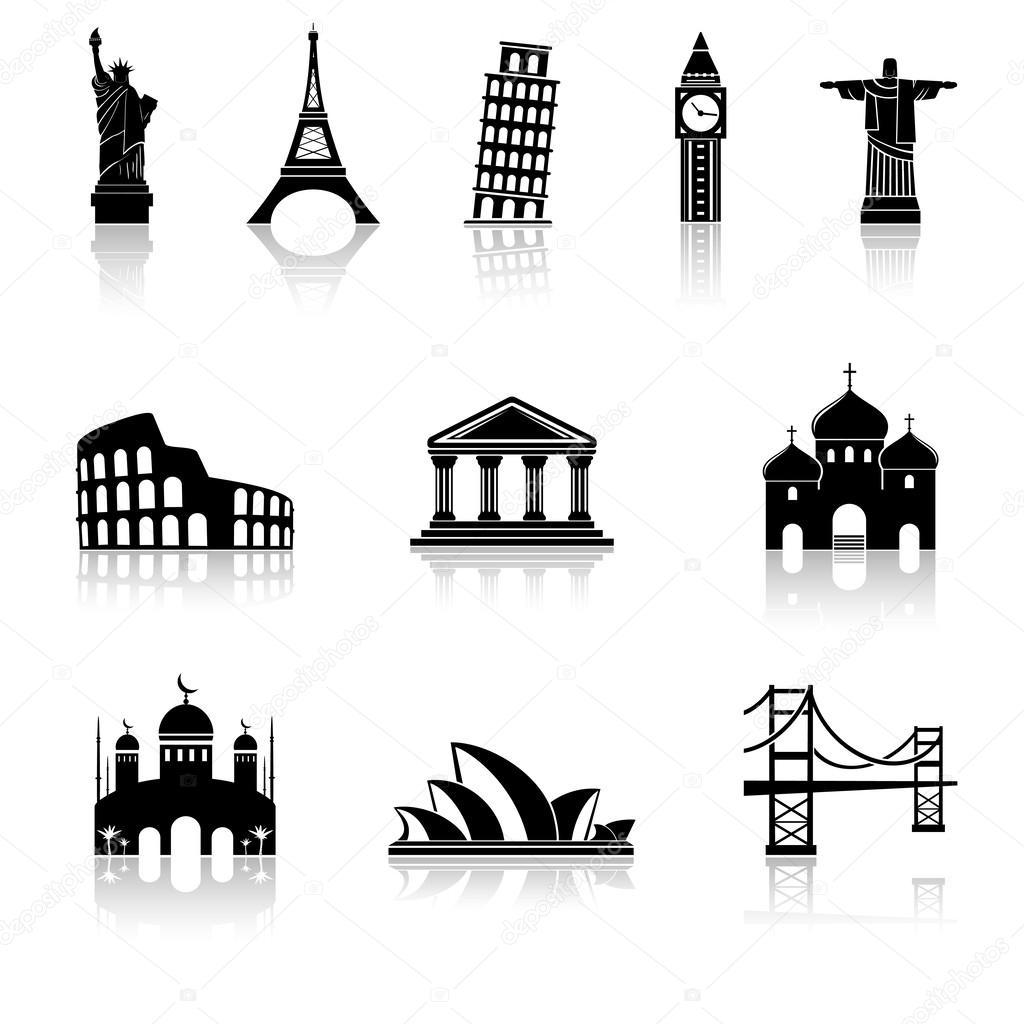 Famous international landmarks icons — Stock Vector ...