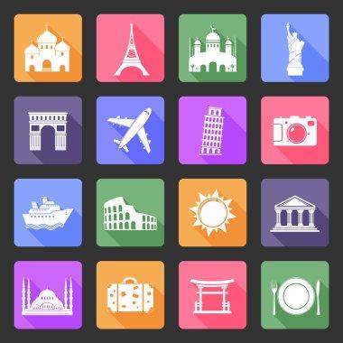 Travel and landmarks flat icons