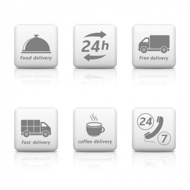 Twenty four hours Service buttons. Delivery icons