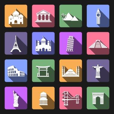 Landmarks flat icons set