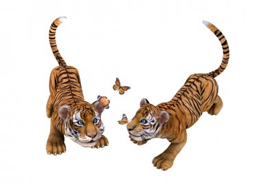 Two cute tiger cubs playing with butterflies