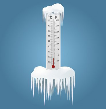 Vector image of an Frozen thermometer at winter clip art vector