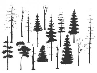 free hand drawing set of the tree