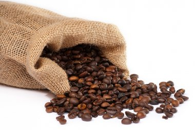 Sack with scattered coffee beans