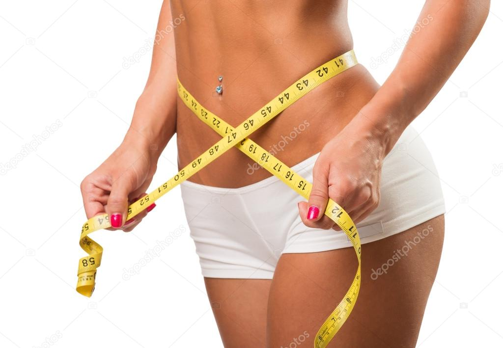 Healthy fitness and eating lifestyle concept. Isolated white background