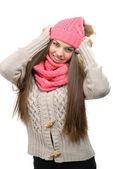 Fotografia donna in abiti invernali