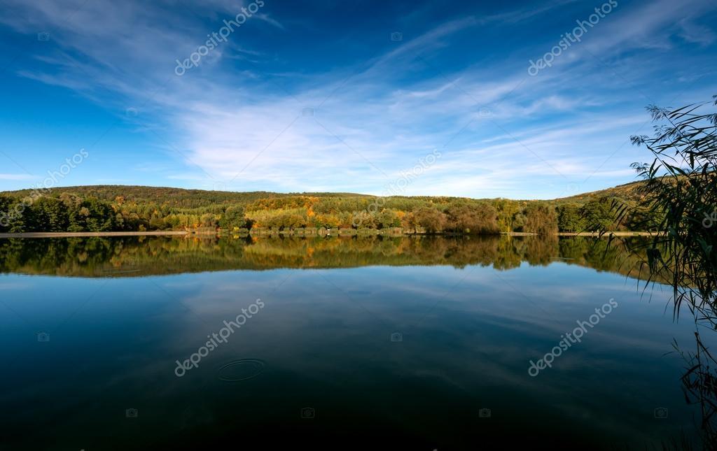 Calm lake shore