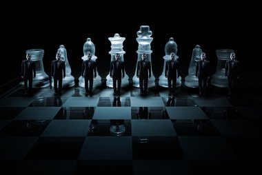 Glass chess board - Businessman peasants site
