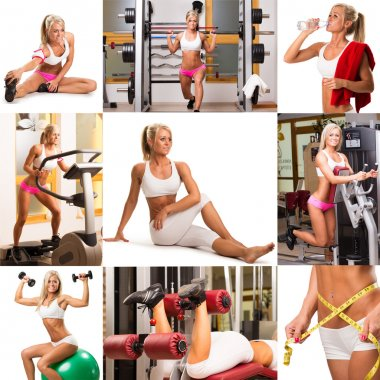 Woman engaged in fitness collage