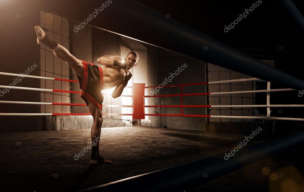 Young  man kickboxing