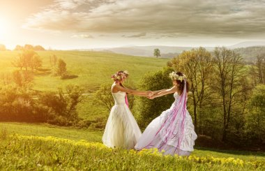 Two beautiful bride on a meadow