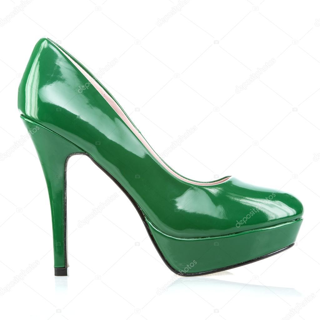 27748f91e93b Zapatos de tacones altos plataforma elegante en verde — Foto de ...