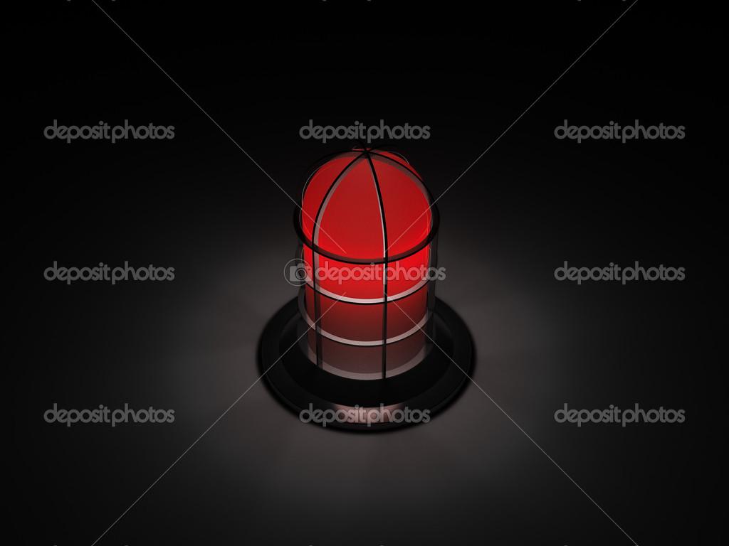 Rood Licht Lamp : Rood licht alarm lamp in het donker u stockfoto inverseman