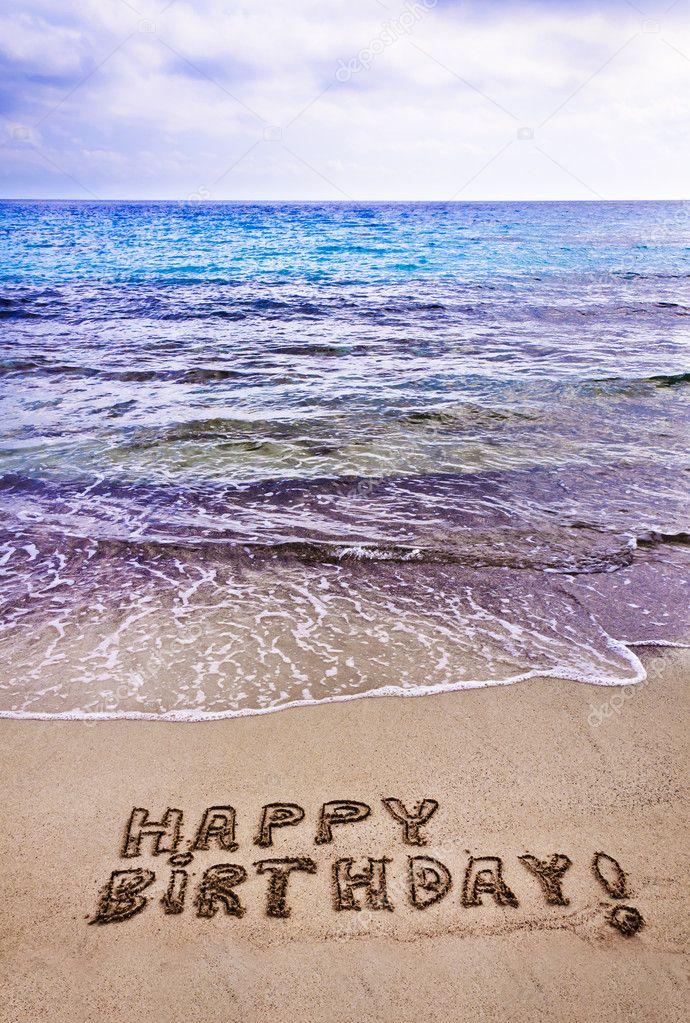 Happy Birthday Written On The Beach Stock Photo