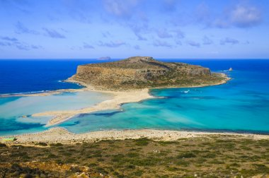 Amazing view over Balos Lagoon and Gramvousa island on Crete, Greece