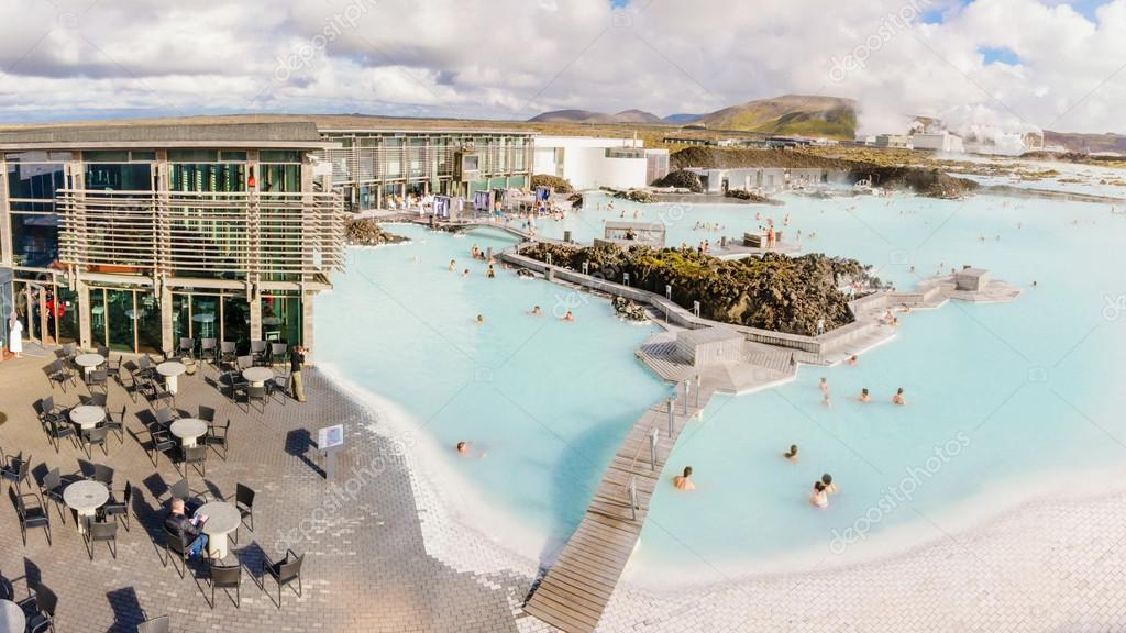 Blue Lagoon - famous Icelandic spa and Geothermal Power plant (panoramic picture)