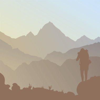 Mountain and a tourist