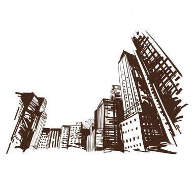 City hand drawn. Vector illustration stock vector
