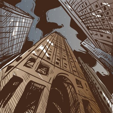 City hand drawn. Vector illustration